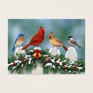 Holiday Birds & Christmas Garland Business Card