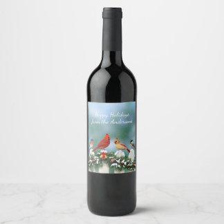 Holiday Birds & Christmas Garland Wine Label