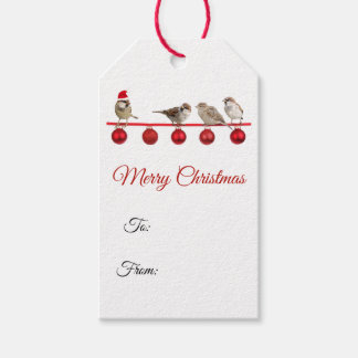 Holiday Birds Red Ornaments Merry Christmas Gift Tags