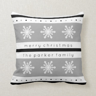 Holiday Black and Gray with White Snowflakes Throw Pillow