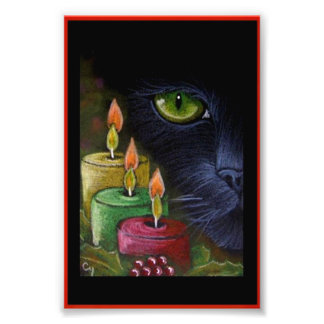 "HOLIDAY BLACK CAT with CANDLES PRINT 4"" X 6"""