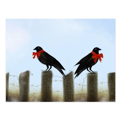 Holiday Blessing Crows Postcards