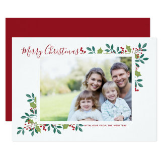 Holiday Blooms Merry Christmas Photo Greeting Card