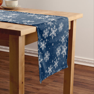 Holiday Blue and Silver Snowflakes Table Runner