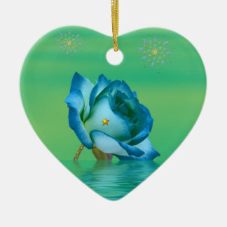 Holiday Blue Rose Ceramic Ornament