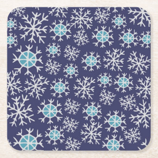 Holiday Blue Snowflakes Pattern Square Paper Coaster