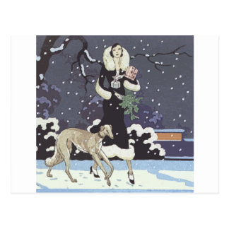 Holiday Borzoi Lady In Snow Postcard