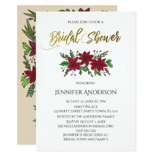 Holiday Bouquet Bridal Shower Card