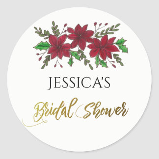 Holiday Bouquet Bridal Shower Name Classic Round Sticker