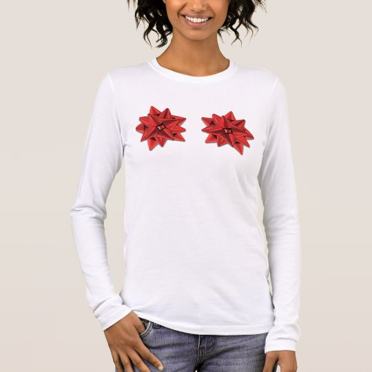 Holiday Bow Bra (Red) Long Sleeve T-Shirt