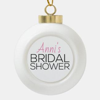 Holiday Bridal Shower Favor Ceramic Ball Christmas Ornament