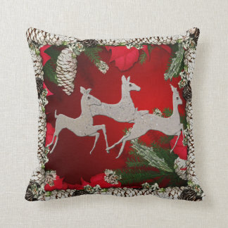 Holiday Bronco Dashing Bucks Throw Pillow
