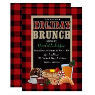 Holiday Brunch Rustic Red Black Buffalo Plaid Card