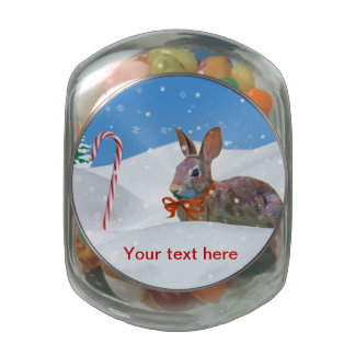 Holiday Bunny Rabbit in Snow Customizable