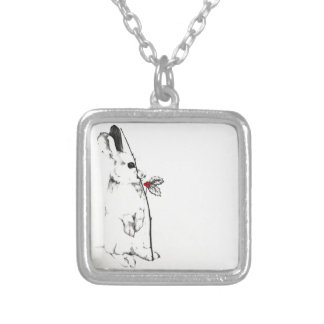 Holiday Bunny Silver Plated Necklace