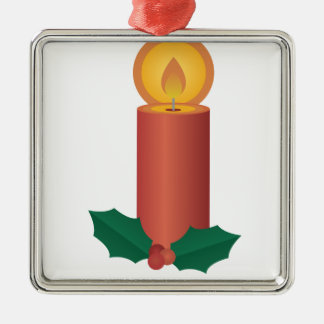 Holiday Candle Silver-Colored Square Ornament