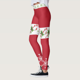 Holiday Candy Cane Snowflake Leggings