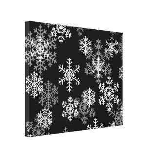 Holiday Canvas Art-Black & White Snowflakes
