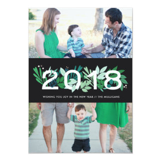 Holiday Card with 2 Photos Floral New Year Card