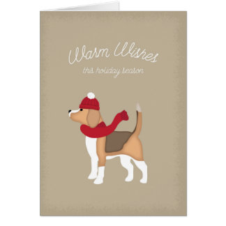 Holiday Card with Beagle Illustration