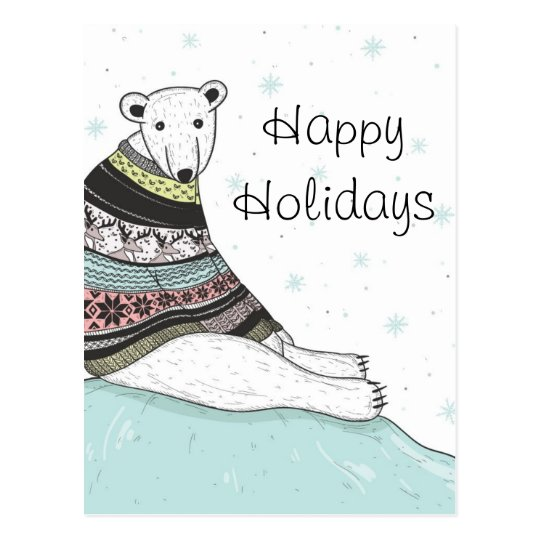 Holiday Card With Cute Polar Bear