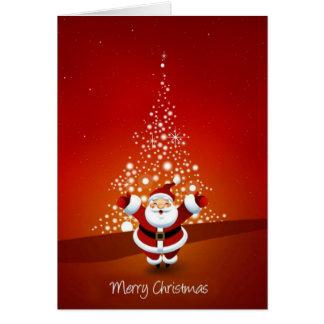 Holiday card with Santa and Christmas tree