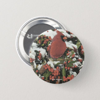 Holiday Cardinal Collage Button Accessory