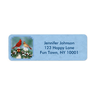 Holiday Cardinals & Christmas Garland Return Address Label