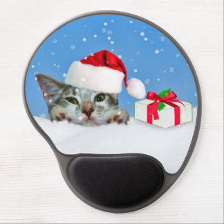 Holiday Cat in Santa Hat  Customizable Gel Mouse Pad