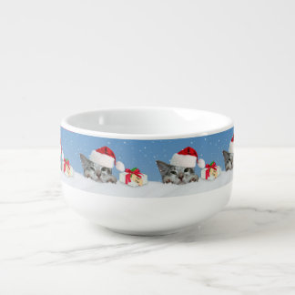 Holiday Cat in Santa Hat Soup Mug