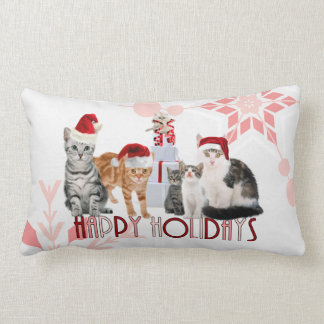 Holiday Cats Christmas | Red and Pink Snowflake Lumbar Pillow