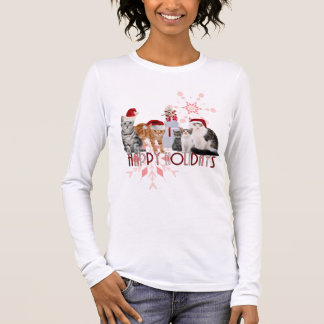 Holiday Cats | Red and Pink Snowflake Long Sleeve T-Shirt