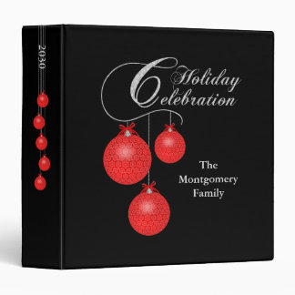 Holiday Celebration, Red Lace Ornaments 1.5 inch 3 Ring Binder