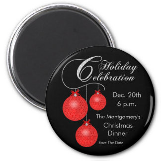 Holiday Celebration, Red Ornaments 2 Inch Round Magnet