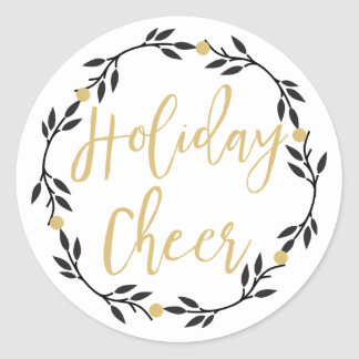 Holiday Cheer Black Wreath with Gold Berries, Classic Round Sticker