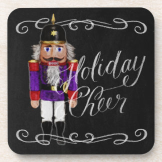 Holiday Cheer Chalkboard Purple and Red Nutcracker Beverage Coasters