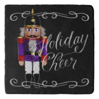 Holiday Cheer Chalkboard Purple and Red Nutcracker Trivet