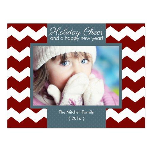 Holiday Cheer Chevron Photo Holiday Postcard