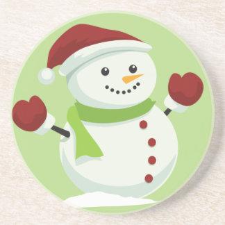 Holiday Cheer Christmas Festive Santa Snowman Coaster