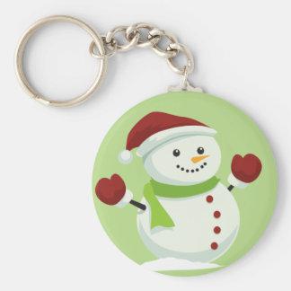 Holiday Cheer Christmas Festive Santa Snowman Keychain