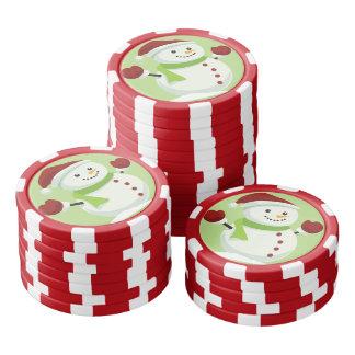 Holiday Cheer Christmas Festive Santa Snowman Poker Chips