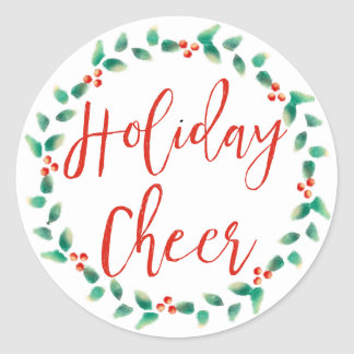 Holiday Cheer in Red and Green Christmas Wreath Classic Round Sticker