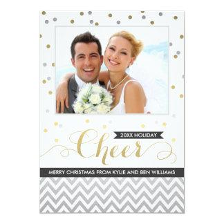 "Holiday Cheer Photo Cards | Confetti and Chevron 5"" X 7"" Invitation Card"