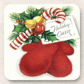 Holiday Cheer Red Mittens Set of Cork Coasters