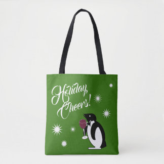 Holiday Cheers Penguin Tote Bag