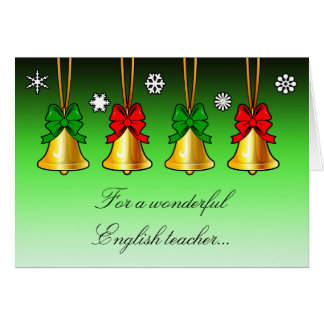 Holiday Christmas Card with Bells for Teachers