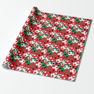 Holiday Christmas Colors Soccer Ball Collage Wrapping Paper