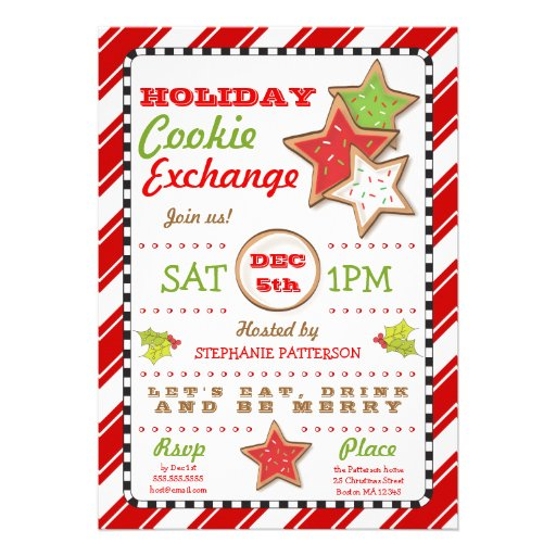 Holiday Christmas Cookie Exchange Invitation   Zazzle