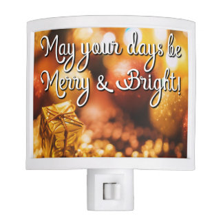 Holiday Christmas Gold Be Merry Night Light