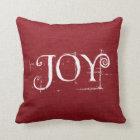 Holiday Christmas JOY Burlap Decor Throw Pillow